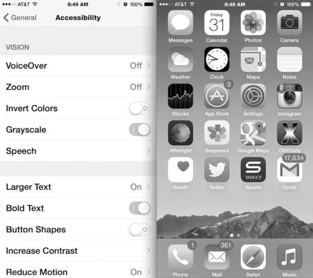 iphone black white screen