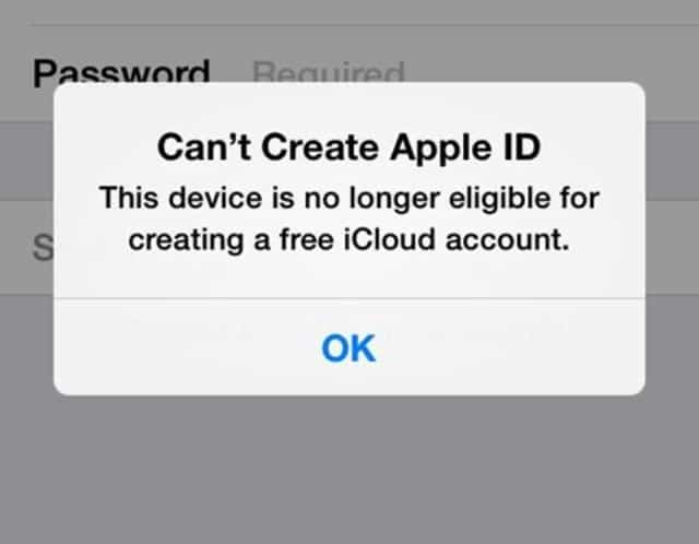 The Maximum Number of Free Accounts Have Been Activated' on iCloud