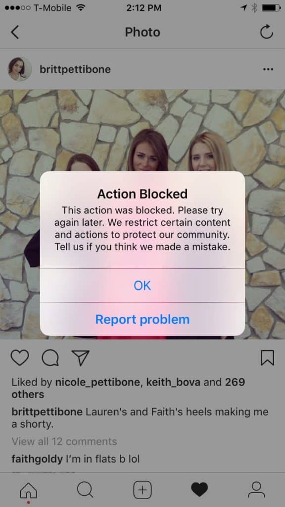 Action blocked Instagram