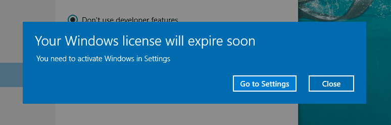 activate windows in settings