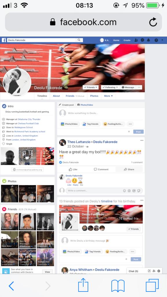 desktop version of Facebook