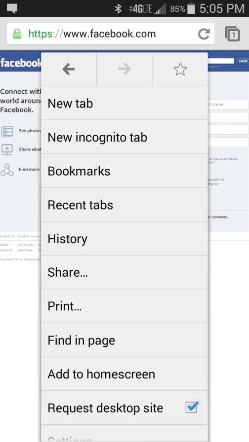 Desktop version Facebook Chrome
