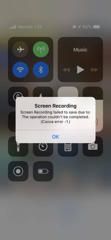 Screen Recording failed to save due to The operation couldn't be completed (Cocoa error -1)