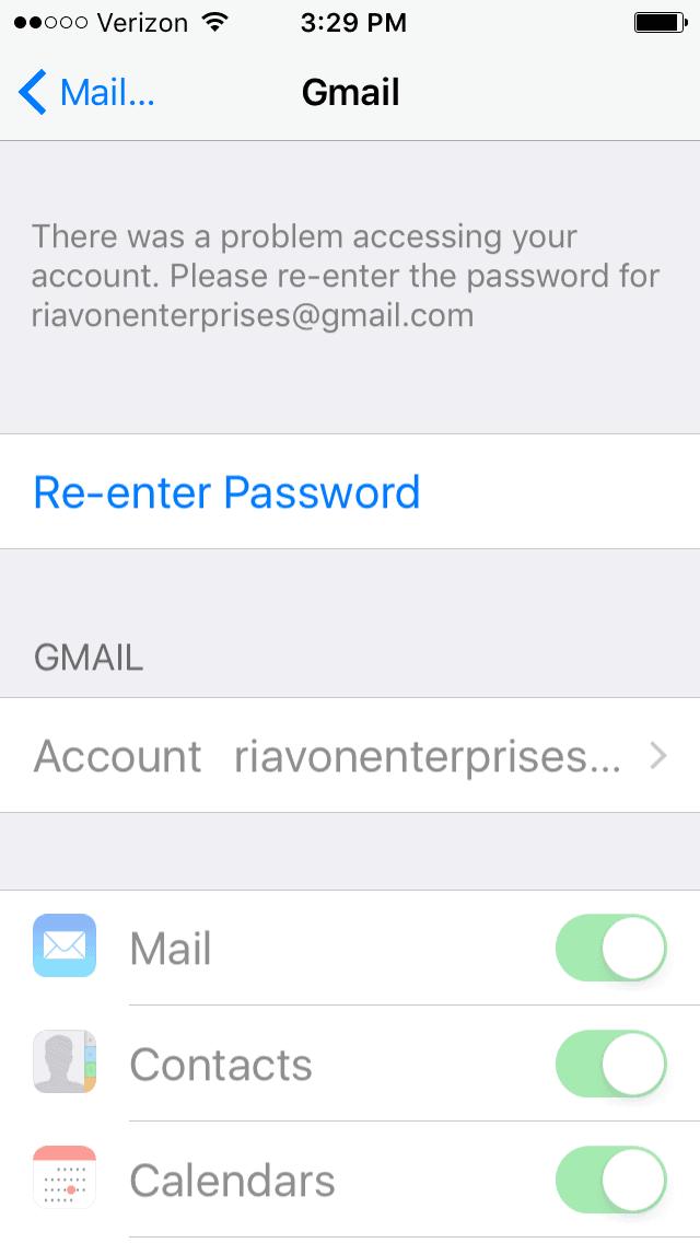 reenter password