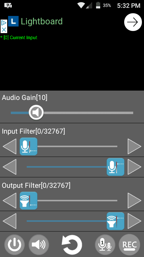 Audio Gain slider